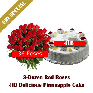 Send 3 Dozen Roses n 4 LB pinneapple Cake EID SPECIAL PACKAGE III on Eid  to Pakistan