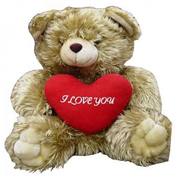 Send Brown Teddy with Heart on Stuffed Toys to Pakistan