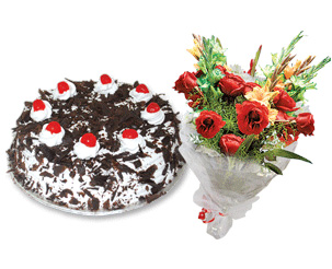 Send Cake Royale 2Lbs and Elegance Bouquet on Eid  to Pakistan