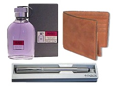 Send Men Wallet + Perfume + Parket Fountain Pen Gift combo for Men on Combo  to Pakistan