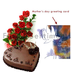 Send Mothers Day Roses Cake and Greeting Card to Pakistan