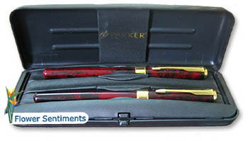 Send Parker Pen Set- Maroon to Pakistan