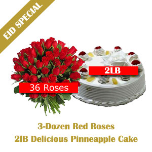 Send Roses n Cake Eid Special Package II on Eid  to Pakistan