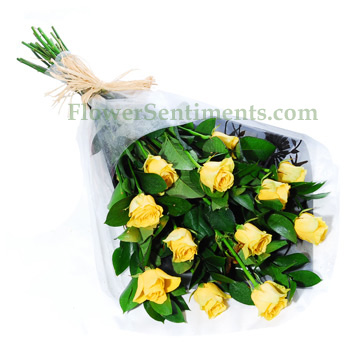 Send Twelve Yellow Roses in gift Wrap on Flowers to Pakistan