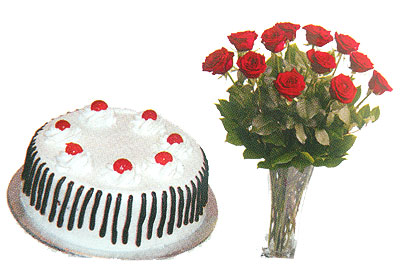 Send Valentines Day Gift 2lbs Black Forest Cake with 12 Red Roses Bouquet on Valentines Day  to Pakistan